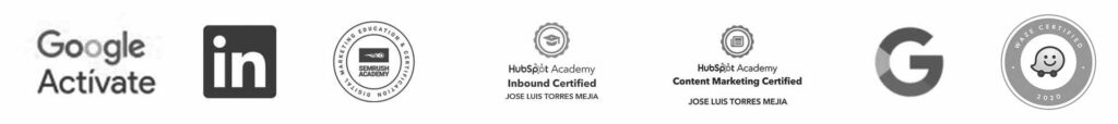 Certificaciones de Google Linkedin Semrush Hubspot y waze